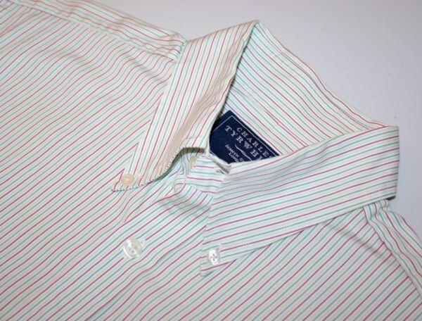 """* * Charles Tyrwhitt Rosa, Azzurro E Verde A Righe Cotone Popeline Camicia Taglia M 15 1/2"""""""