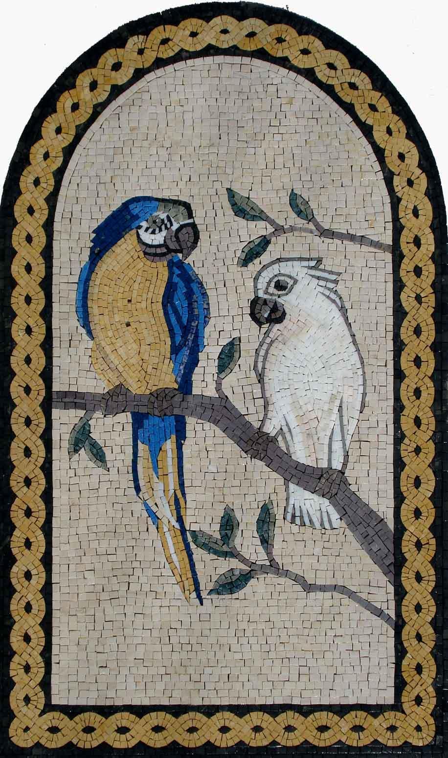 36 x 22  Handmade Two Parreds Arbor Tree Garden Nature Decor Art Marble Mosaic