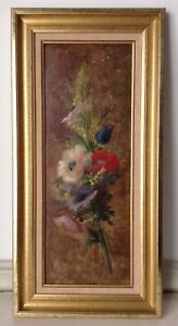 Antique-Oil-Impressionist-painting-Bouquet-Roses-Jacques-Martin-French-school