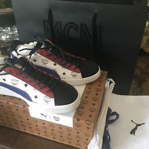 PUMA X MCM Classic Limited Edition Red White Blue Black Sneakers US ... 60d1510ae6