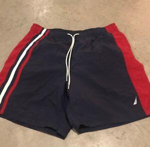 Nautica-Swim-Trunks-Men-039-s-Blue-Red-Lined-Swim-Shorts-Size-M