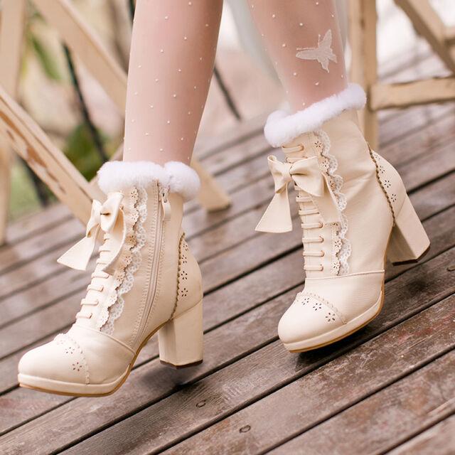 Warm Japanese Sweet Lolita Elegant Bow Princess Platform Chunky Hight Heel Shoes