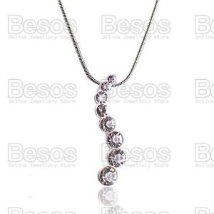 AUSTRIAN-CRYSTAL-JOURNEY-PENDANT-snake-chain-NECKLACE-silver-fashion-UK-GIFT