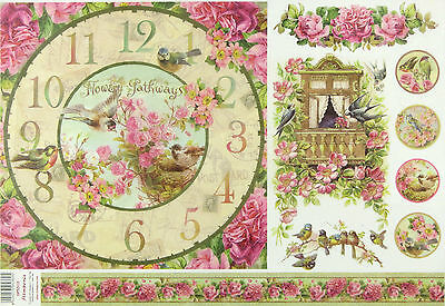 Rice Paper for Decoupage Scrapbooking Sheet Clock and Small Balcony