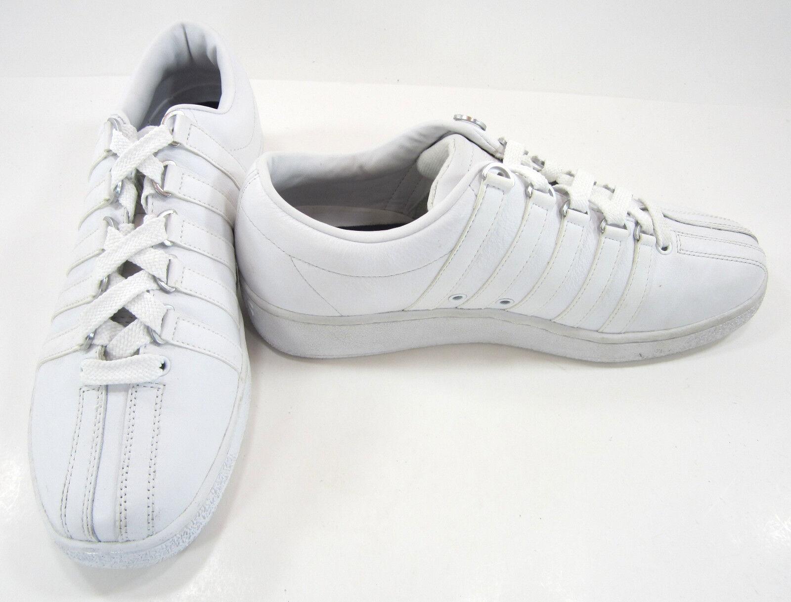 K-Swiss Shoes Classic Varsity Striped White Sneakers Size 9.5 Scarpe classiche da uomo