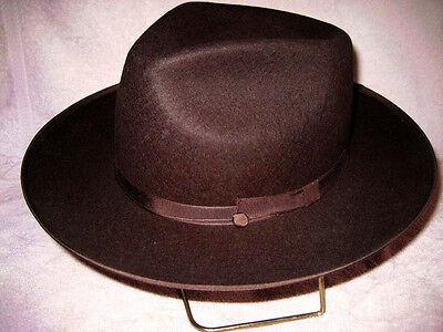 Custom Made Brown Johnny Depp Style Fedora Hat Fur or Wool Felt Tear Drop Crown