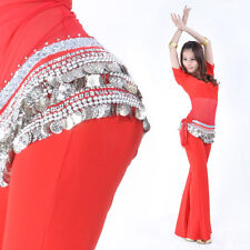 New Belly Dance Hip Scarf Belt velvet & 338pcs silver Coins 10 Colors