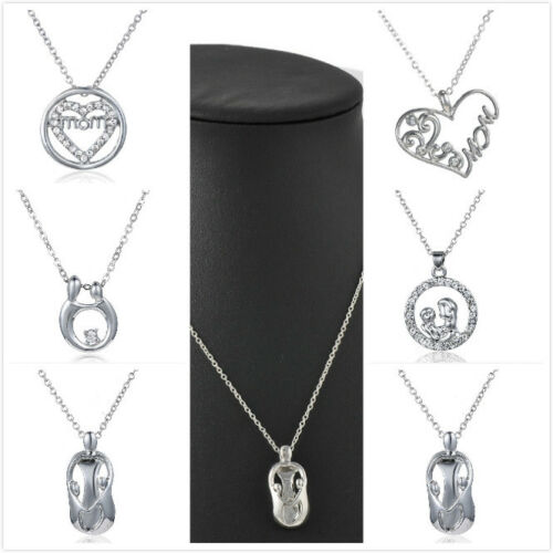 Fashion-Mother-039-s-Day-034-Mom-and-Child-034-Charm-Crystal-Heart-Silver-Pendant-Necklace