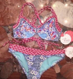 NWT Profile Swimsuit Tankini Bikini 2pc set Sz 10 34D  Red