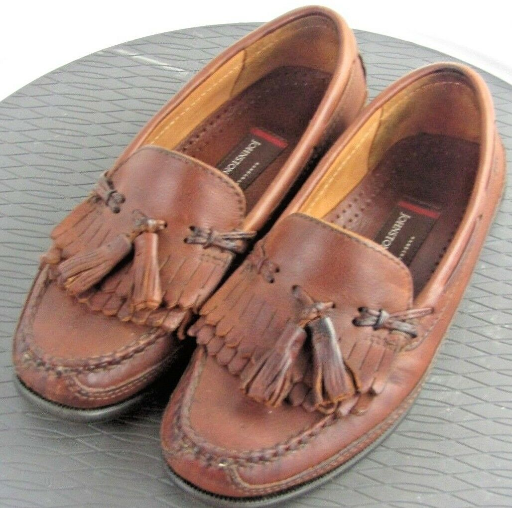 Johnston Murphy Brown Leather Slip On Loafers Tassels Bow Kiltie Mens 8M