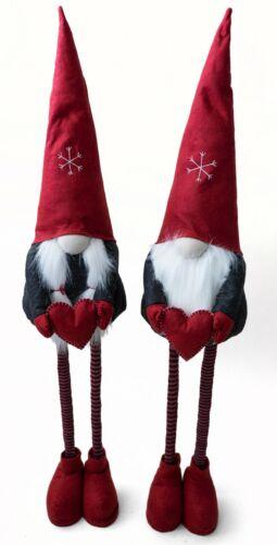2x XXL Wichtel Set Mann+Frau Teleskopbeine Rot 125cm hoch XMAS Deko Weihnachten
