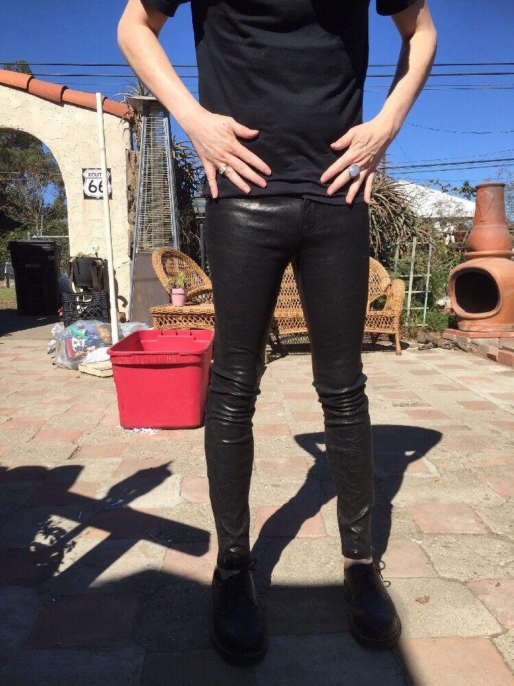 New  1k J Brand Designer Lambskin skinny Leather Goth Rocker Small Neiman Marcus