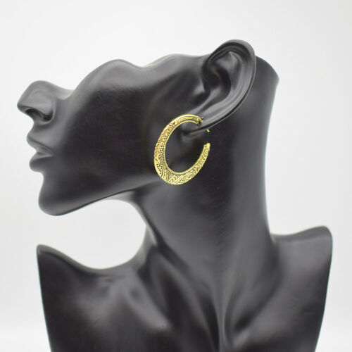 Tribal Gypsy antique CALIN demi-cercle percé creux boucles d/'oreilles Créoles Pour Femmes