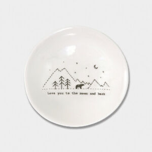 East of India White Ceramic Love you to Moon Trinket Jewellery Bowl Dish 10cm