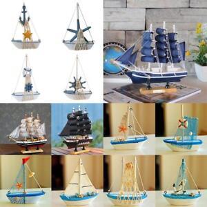 Retro Wood Mediterranean Style Sailing Boat Model Home Furnishing Decor #4