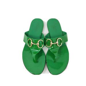 GUCCI-Designer-SAND-PELLE-Sandals-Green-Patent-Leather-HORSEBIT-Women-Sz-6-5-B