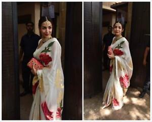 Printed-Sari-Bollywood-Organza-Designer-Soft-Saree-Party-wedding-wear-Sari