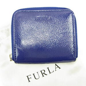 Furla-Wallet-Purse-Coin-Purse-Blue-Woman-unisex-Authentic-Used-Y6231
