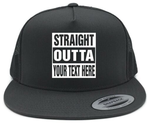 """Custom STRAIGHT OUTTA /""""Your Text Here/"""" Baseball Snapback Hat CUSTOMIZED Grey"""