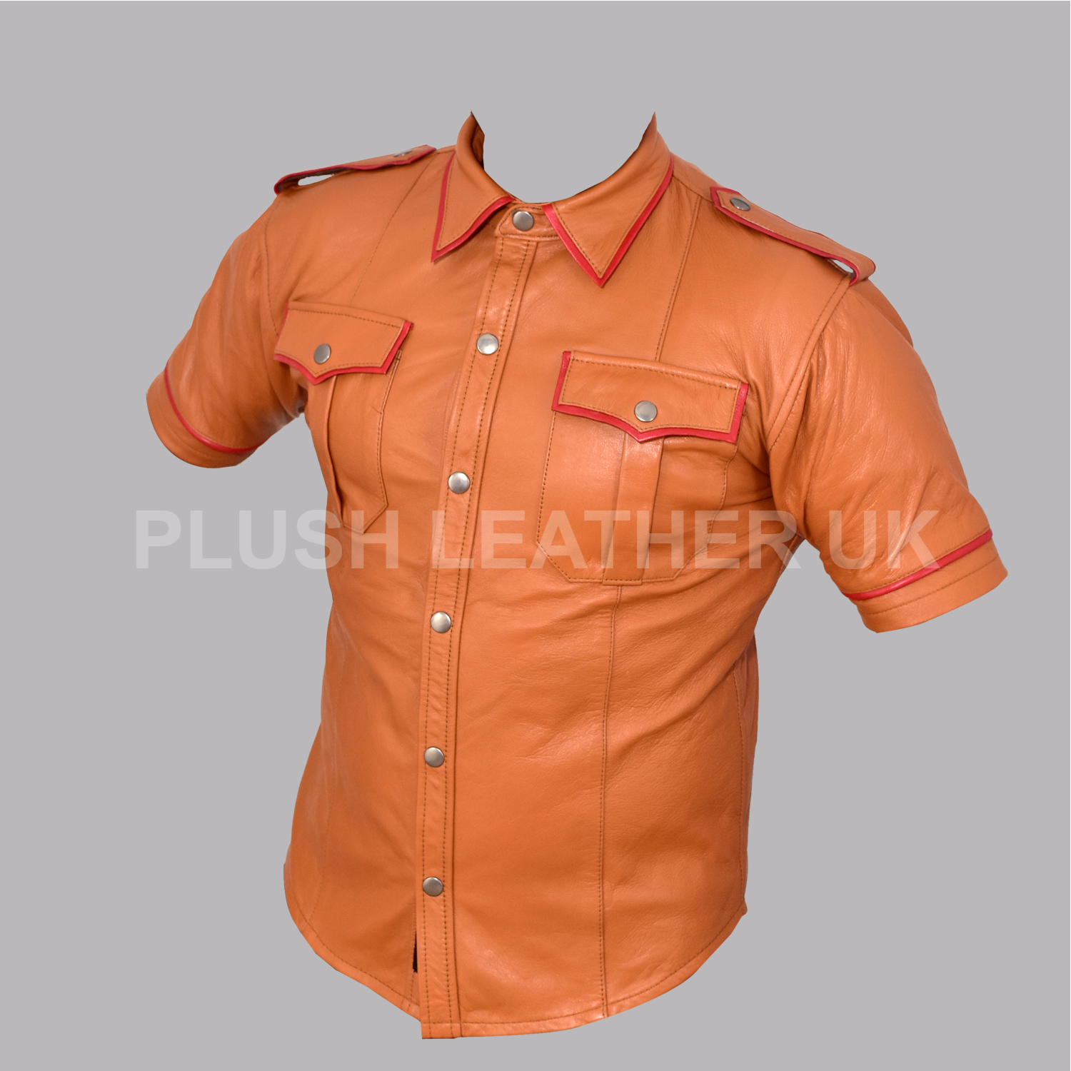 Real  Herren Very Hot Real Sheep Leder TAN Colour Police Uniform Shirt BLUF-GAY