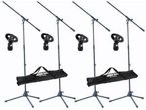 4-Stueck-ADAM-HALL-Mikrofonstaender-mit-Mikrofonklemme-und-2-x-Transporttasche-NEU