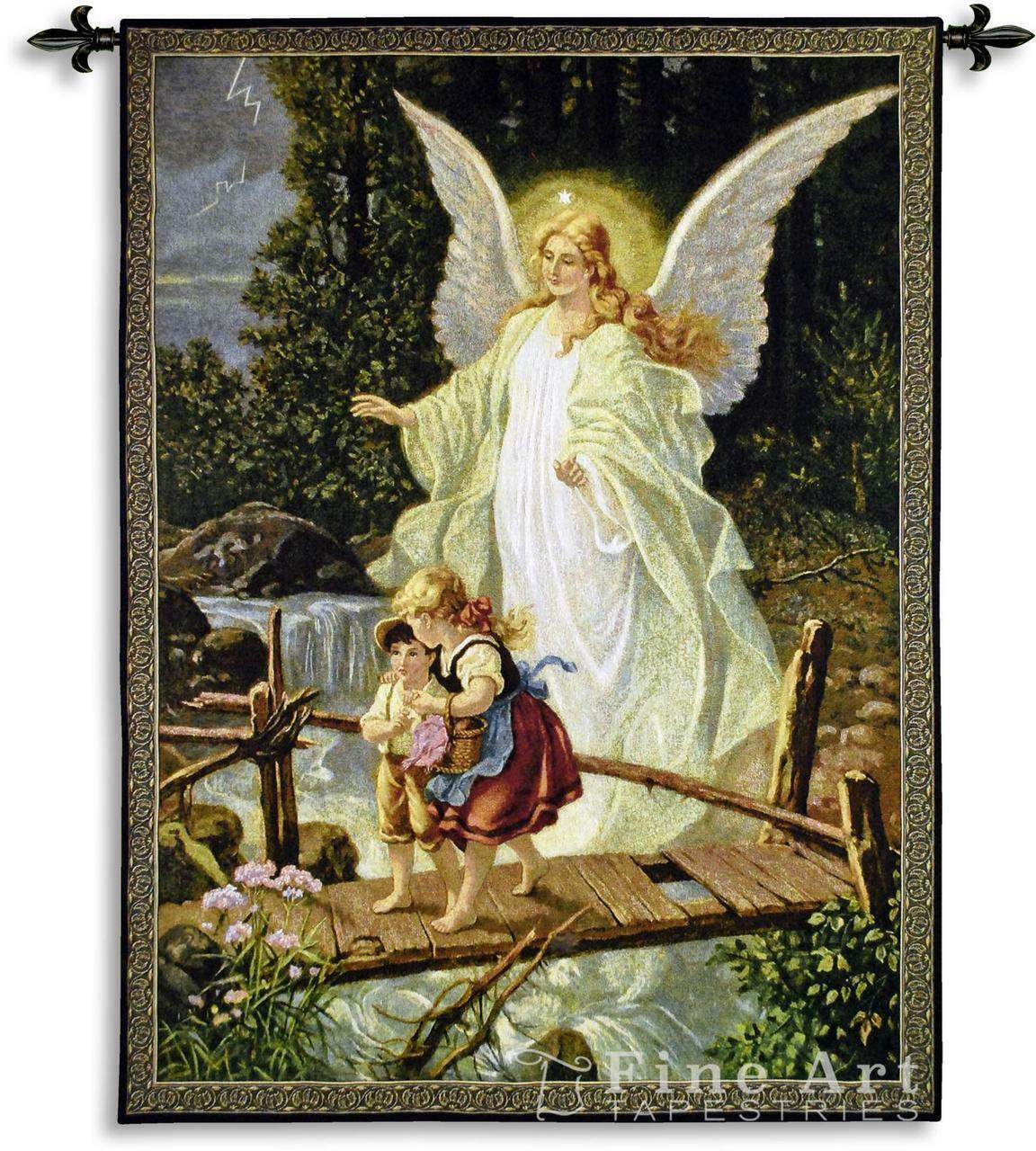 Guiding Angel Romantic Tapestry Wall Hanging Kids 40 x53