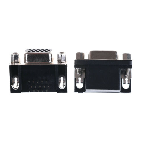 2PCS VGA DB15 15Pin D-SUB 3 Row Female Right Angle PCB Solder Cable Connector TO