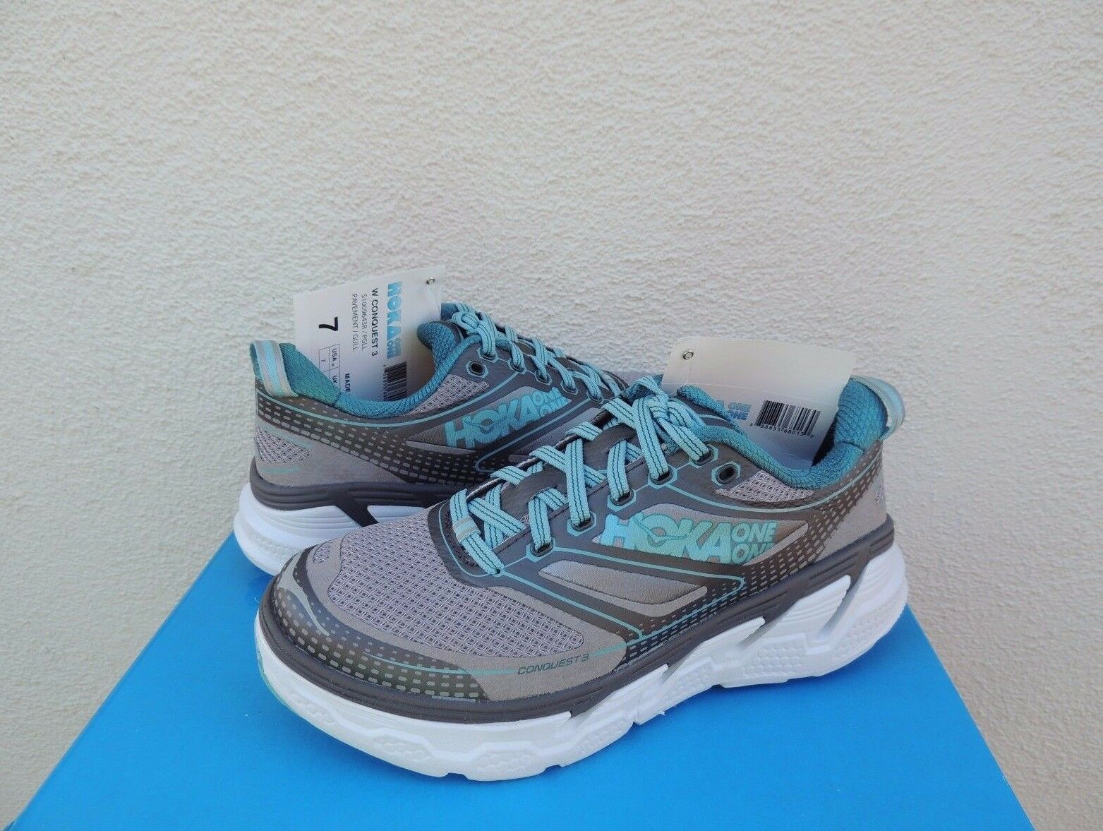 HOKA ONE ONE CONQUEST 3 PAVEMENT GREY RUNNING Chaussures , US 7/ EUR 38 2/3 ~ NWT