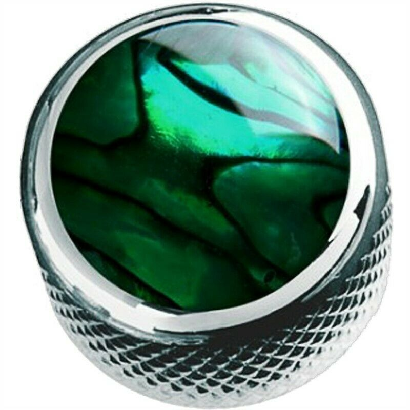 Q-Parts Dome Knob KCD-0014 GREEN ABALONE ON CHROME NEW