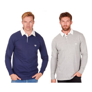 Mens-Rugby-Style-Polo-Shirt-Long-Sleeve-100-Cotton-Sports-Classic-Top-S-2XL