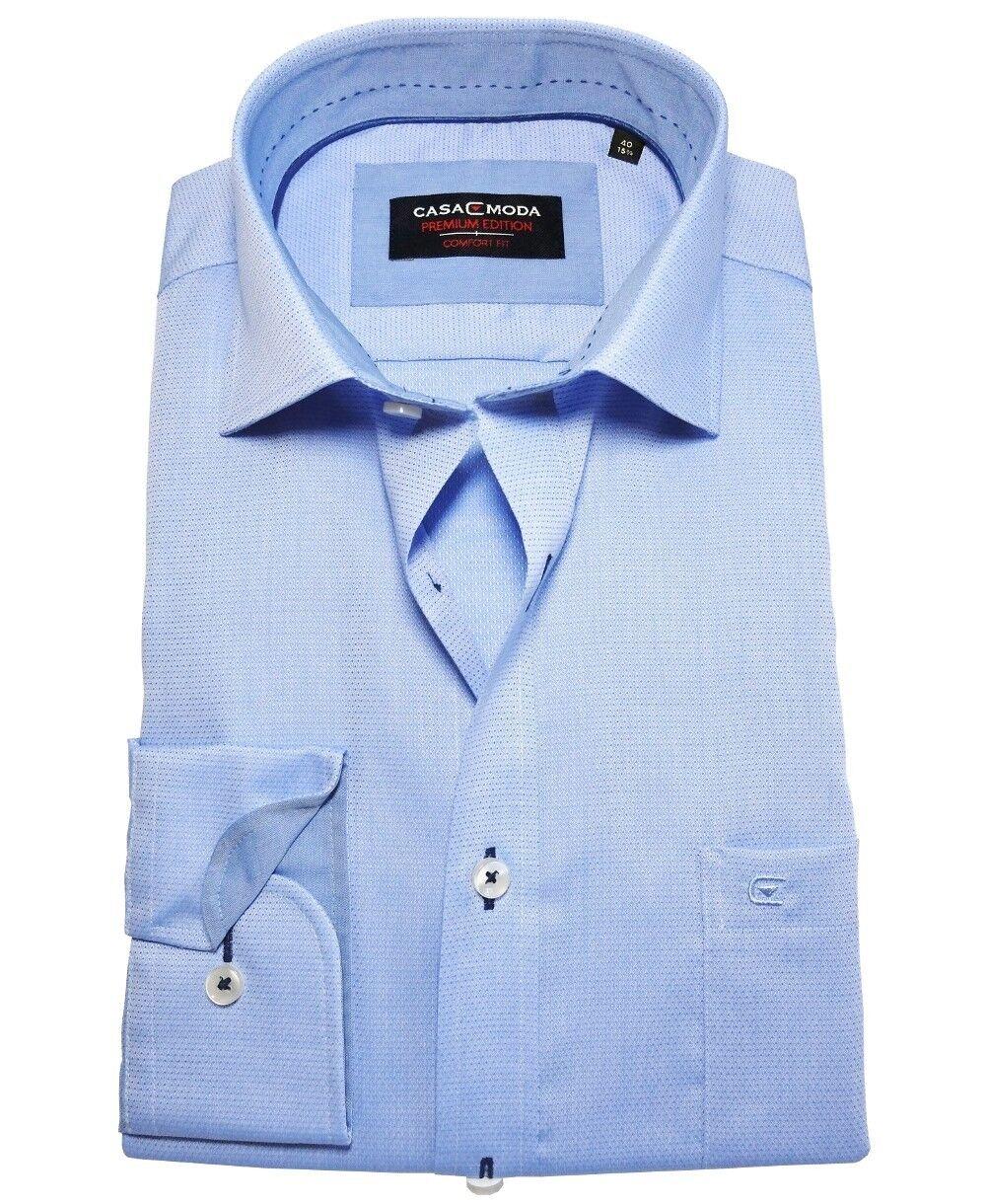 Casa Moda Premium Comfort Fit Langarmhemd Struktur blau Gr. 40 bis 54 bügelfrei