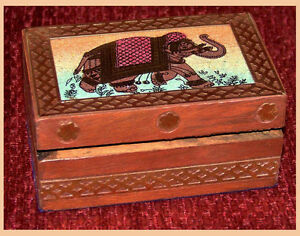 GEMSTONE-PAINTING-DESIGNER-WOOD-BRASS-JEWELRY-BOX-INDIA