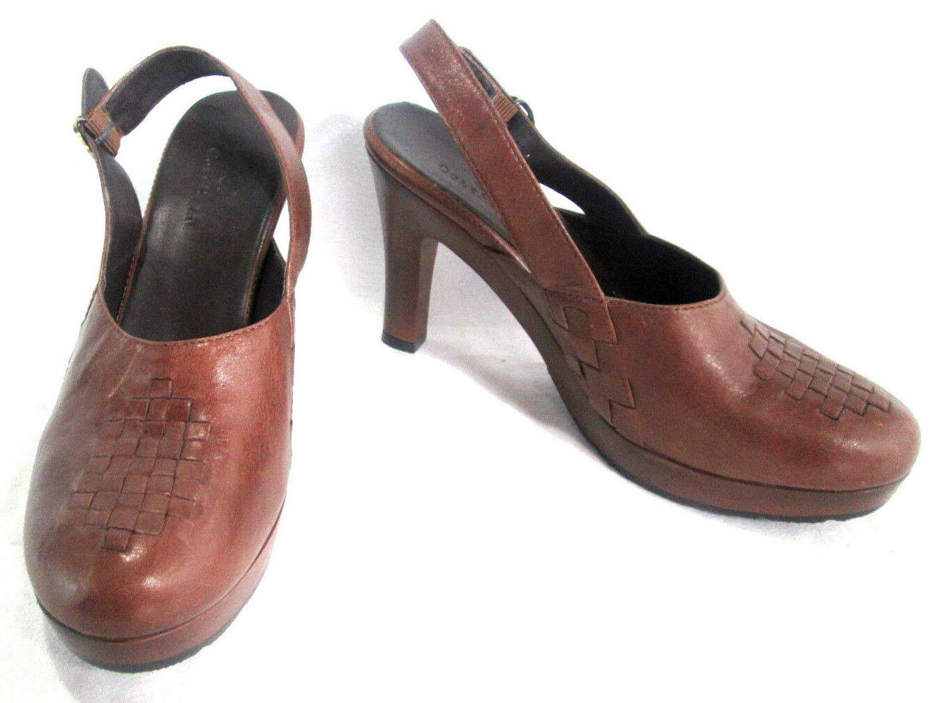 Cole Haan Women's shoes Heels Mule Brown Leather Weave Wood Sole 4 heel Size 9 B