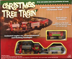 New-Light-Sounds-ANIMATED-CHRISTMAS-TRAIN-SET-Holiday-Decoration-Mounts-in-Tree