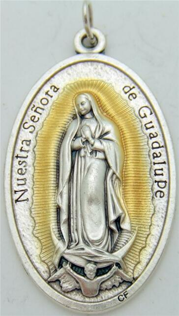 """MRT Large Our Lady Of Guadalupe Silver Plate Catholic Medal Gift from Italy 1.5"""""""