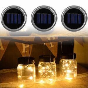 3-Pack-Solar-Powered-Mason-Jar-Lid-10-LED-Fairy-String-Lights-Party-Garden-Decor