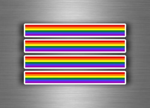 4x sticker decal car stripe motorcycle racing flag moto tuning rainbow