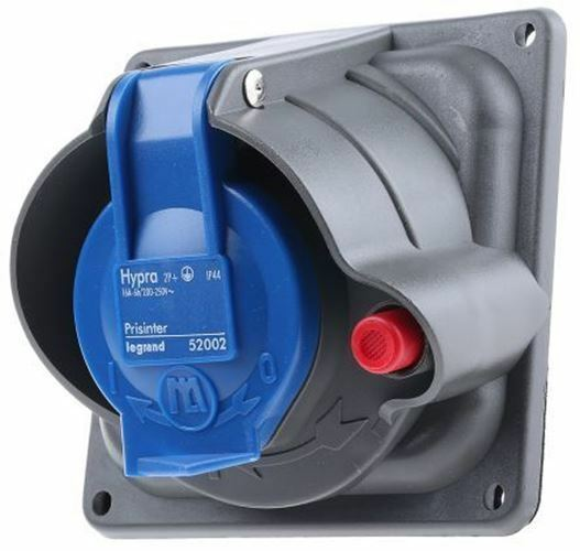 Legrand HYPRA Series, IP44, IP45 bluee Panel Mount 2P+E Right Angle Industrial Po
