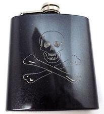 Jolly Roger Skull Cross Pirate Engraved 6oz Glitter Hip Flask Liquor FEN-0020