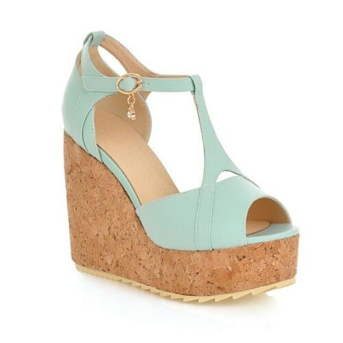 Beautiful Women sandals peep toe buckle wedges shoes summer prince