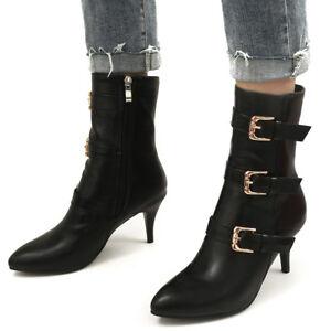 Women Mid-Calf Boots Plus Size Zip Pointed Toe Kitten Heel Winter Booties Shoes