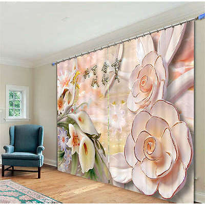 Especial Carved Flowers 3D Blockout Photo Printing Curtains Draps Fabric Window
