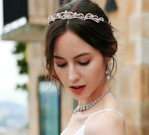 Princess rose gold Wedding Bridal Crystal Crown Hair Band Tiara Headband uk