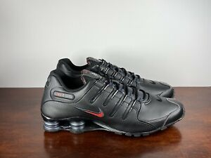 Details about Men's Nike Shox NZ Black Red Leather Running Shoes 378341-01  Size 13