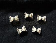 (5pcs) silver pearl 3D bow diamond rhinestone nail art charms acrylic gel A05