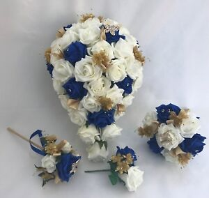 Wedding Flowers Ivory Gold Royal Blue Bouquet Bride Bridesmaid