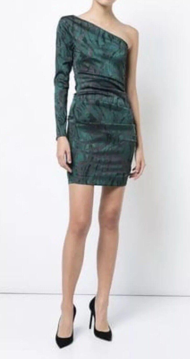 Nicole Miller Collection damen One Shoulder Dress Grün schwarz Ruched Größe 10