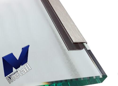 Einfassprofil für Glas 1,5 mm L= 2500mm Edelstahl Kantblech 1.4301 Schliff K320.