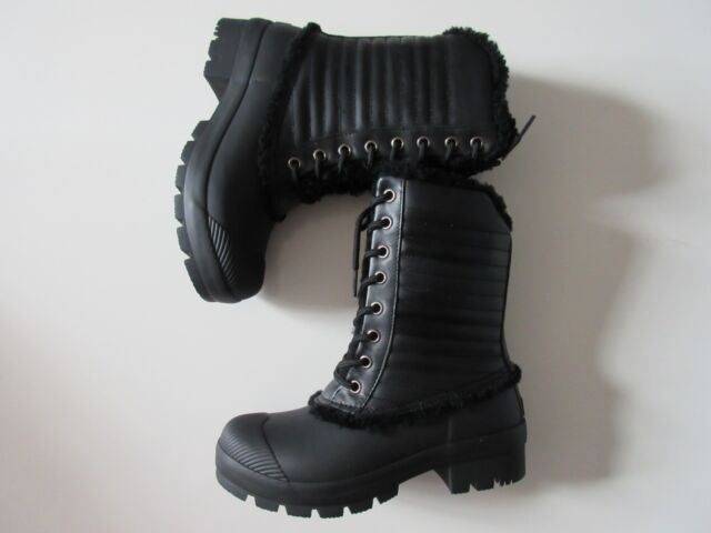 998b78b08f57 NIB HUNTER Original Shearling Lined Pac in Black Lace-up Rain Boots US 6   235
