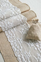 Burlap Lace Table Runner Rustic Winter Wedding Valentines Party Decor 72'' 108''